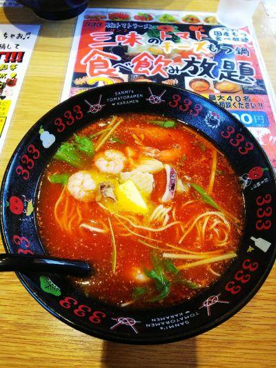 元祖トマトラーメンと辛めんと元祖トマトもつ鍋 三味(333)遠賀郡水巻みどりんぱーく店